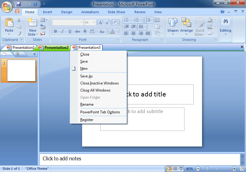 PowerPoint Presentations Tabs