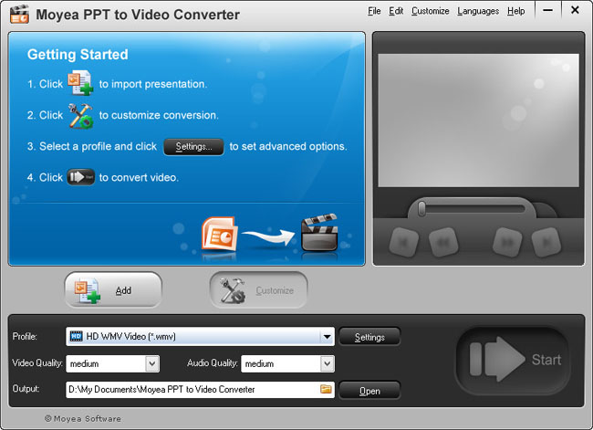 Start interface of Moyea PPT to Video Converter