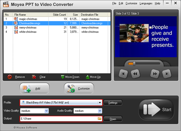 convert PowerPoint presentation to BlackBerry video