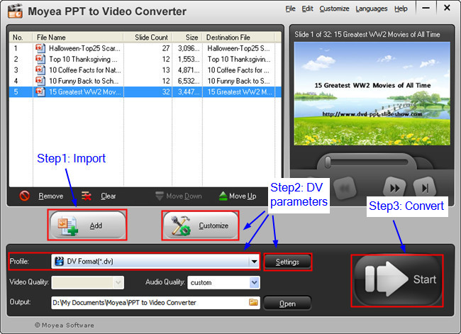 PowerPoint to DV: Import PowerPoint Files