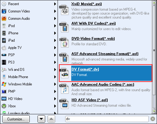 PowerPoint to DV: Choose DV format