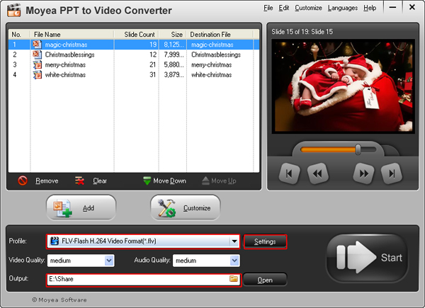 convert PowerPoint presentation to FLV video