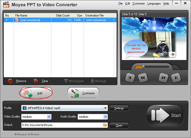 PowerPoint to HTC Flyer: Add file