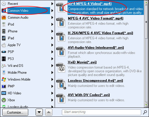 PowerPoint to HTC Thunderbolt: Choose video format