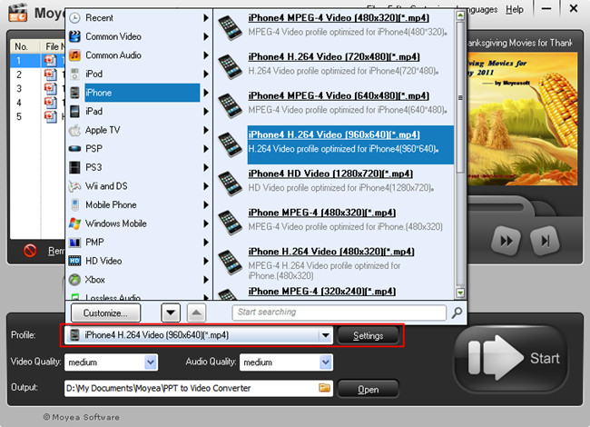 PowerPoint to iPhone 4S: Output video format