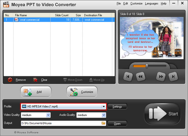 PowerPoint to LG Optimus Pad: Choose Video format