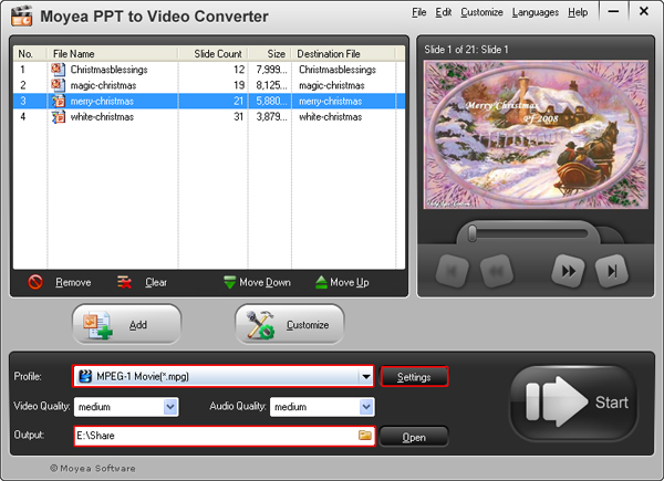 convert PowerPoint presentation to MPEG video