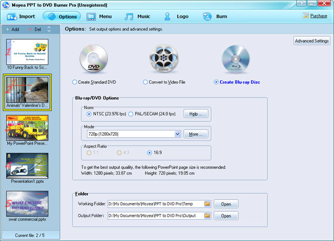 PowerPoint to Panasonic DMP-BD60: Create Blu-ray