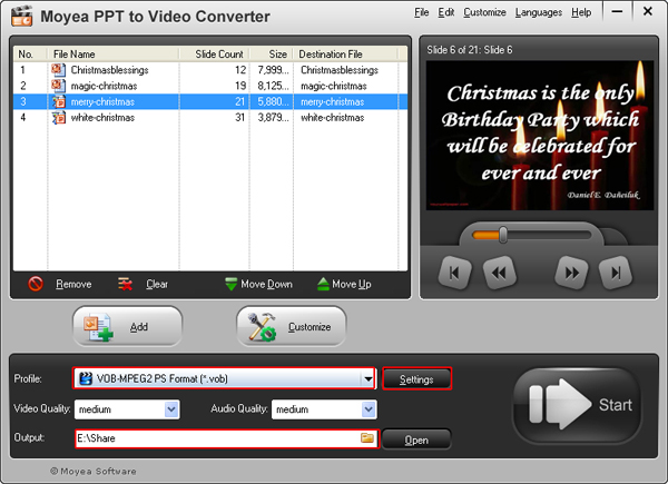 convert PowerPoint presentation to VOB video
