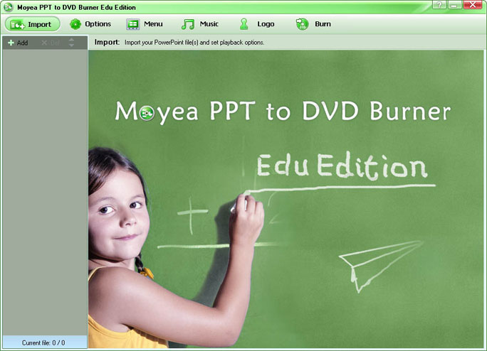 Click to view Moyea PPT to DVD Burner Edu Edition 4.7.0.6 screenshot
