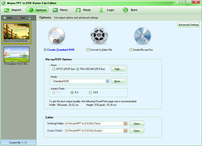 Moyea PPT to DVD Burner Edu Edition Screenshot